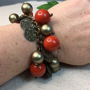 Jewelry - Orange and Brass Costume Charm Bracelet